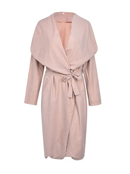 Plain Wide Lapel Women's Long Wrap Coat