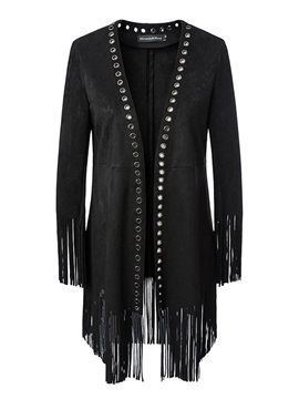 Suede Open Front Tassel Punk Women's Jacket