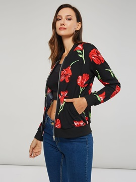 Floral Print Zip Stand Collar Women's Jacket