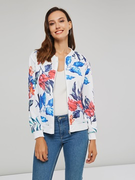 Floral Print Slim Stand Collar Women's Jacket
