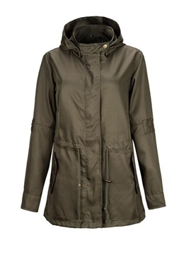 Olive Green Fall Thin Hooded Women's Trench Coat