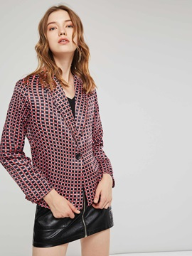 Houndstooth OL Thin One Button Women's Blazer