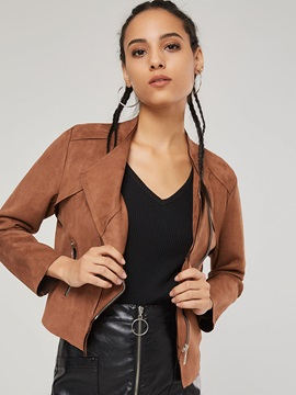 Chic Lapel Zipper Up Women's Short Jacket