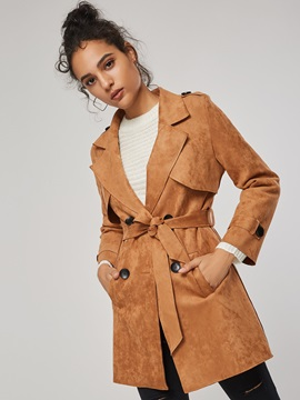 Notched Lapel Mid-Length Lace Up Women's Trench Coat