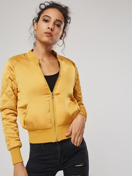 Space Cotton Plain Short Zip Women's Jacket