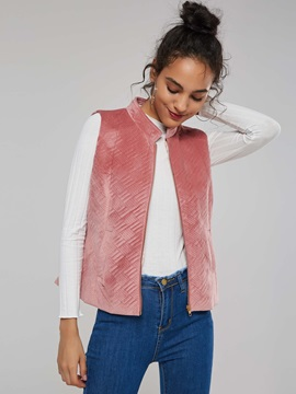 OL Pocket Zip Plain Slim Women's Vest