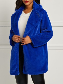 Fur Fluff Open Front Button Women's Overcoat