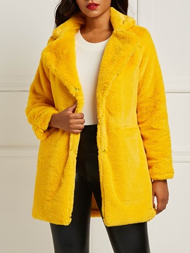 Faux Fur Loose Button Women's Overcoat