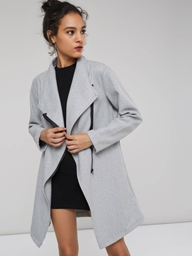 Zip Mid Length Plain Women's Overcoat