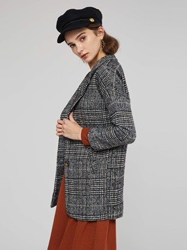 Plaid Lapel Mid Length Button Women's Overcoat