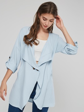 Thin Plain Lapel Loose Office Lady's Trench Coat