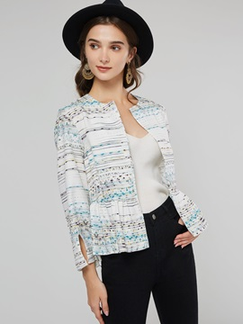 Floral Print Slim Round Neck Wrapped Women's Jacket