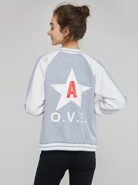 Color Block Sports Star Print Women's Baseball Jacket