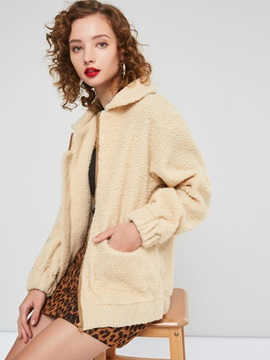 Lapel Plain Polar Fleece Women's Teddy Bear Coat