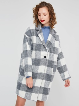 Plaid Stylish Mid Length Women's Cotton Overcoat
