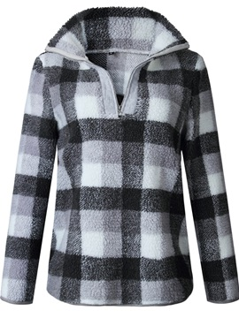 Print Plaid Quarter Zip V-Neck Women's Hoodie