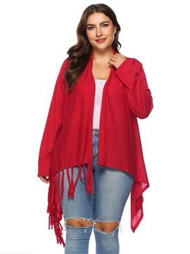 Mid-Length Wrapped Asymmetric Tassel Plus Size Women's Cape