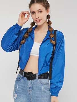 Loose Long Sleeve Zipper Short Women's Jacket