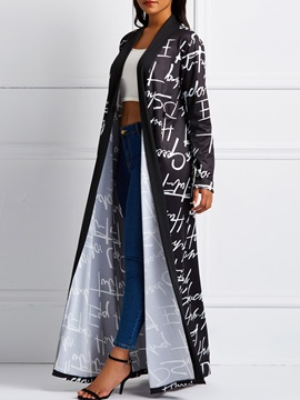Print Long V-Neck Fall Women's Trench Coat