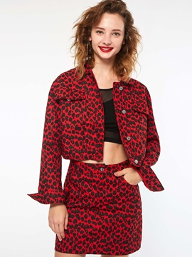 Leopard Print Long Sleeve Short Women's Jacket