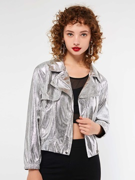 Short Long Sleeve Fall Metallic Women's Silver Coat