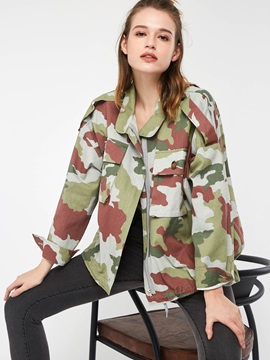 Camouflage Long Sleeve Loose Women's Jacket