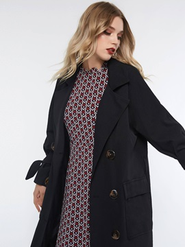 Straight Double-Breasted Button Mid-Length Women's Overcoat