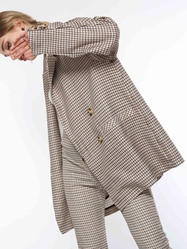 Double-Breasted Plaid Long Sleeve Spring Women's Blazer