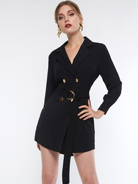 Notched Lapel Double-Breasted Plain Fall Women's Blazer