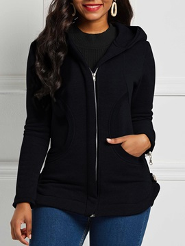 Zipper Long Sleeve Slim Hooded Mid-Length Women's Jacket