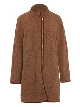 Straight Zipper Fall Women's Long Teddy Bear Coat