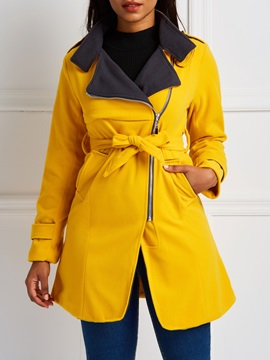 Regular Pocket Zipper Mid-Length Women's Overcoat
