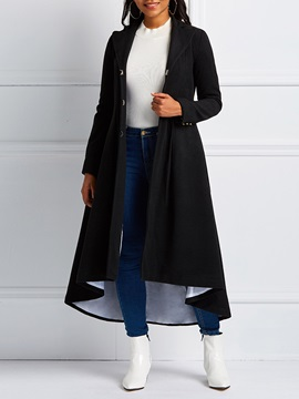 Hidden Button Slim A Line Long Women's Overcoat