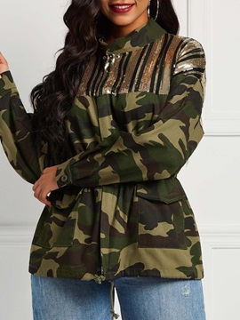 Camouflage Sequins Zipper Loose Mid-Length Women's Jacket