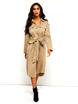 Single-Breasted Pocket Lapel Long Women's Trench Coat