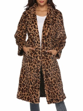 Animal Print Leopard Loose Long Women's Faux Fur Overcoat