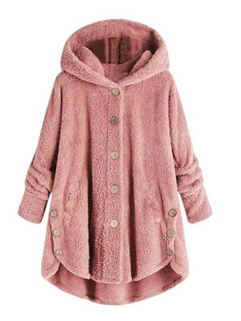Loose Button Hooded Mid-Length Women's Teddy Bear Coat