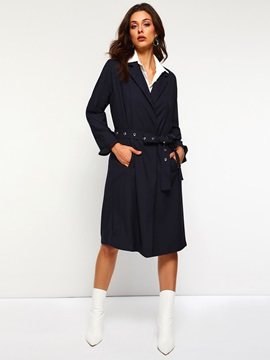 Straight Notched Lapel Mid-Length Belt Women's Overcoat