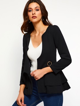 Nine Points Sleeve Plain V-Neck Fall Women's Blazer