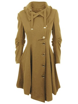 Hooded Mid-Length Heap Sleeve Women's Trench Coat