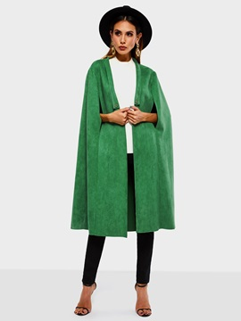 Fashion Plain Suede Fall Women's Long Cape