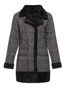 Plaid Loose Zipper Mid-Length Winter Women's Overcoat