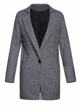 One Button Straight Mid-Length Fall Women's Overcoat
