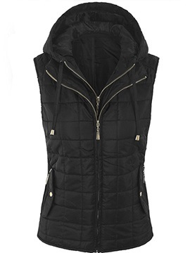 Hooded Zipper Winter Standard Sleeveless Women's Vest