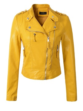 PU Zipper Slim Fall Women's PU Jacket