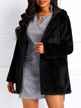 Single-Breasted Faux Fur Hooded Women's Overcoat