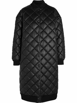Straight Single-Breasted Long PU Women's Cotton Padded Overcoat