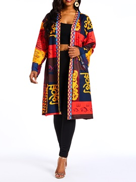 Long Print Regular Long Sleeve Women's Trench Coat