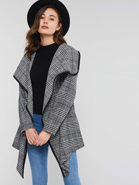 Plaid Wrapped Mid-Length Lapel Women's Overcoat