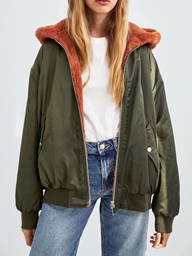 Fleece Loose Hooded Wear On Both Sides Women's Jacket